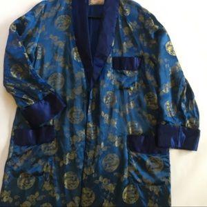 Vintage Solz Squirrel Blue Silk Kimono 👘